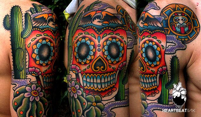 Día De Los Muertos The Art Of Tattoo Heartbeatink Tattoo