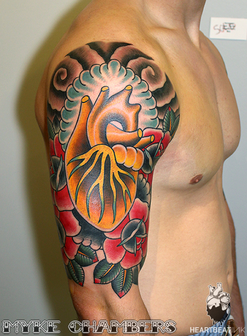 Golden heart roses tattoo myke chambers