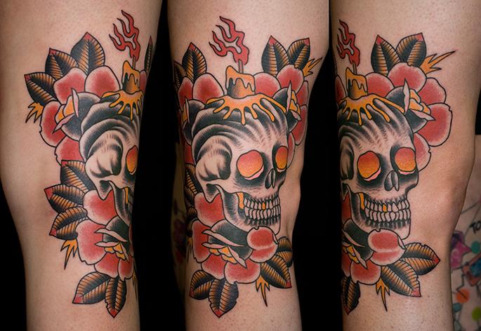 Skull candle roses tattoo myke chambers