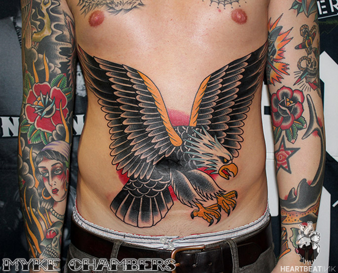 eagle tattoo on stomach myke chambers