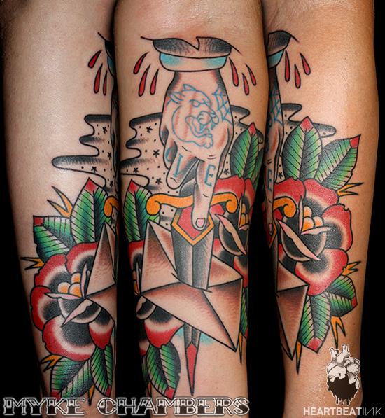 hand dagger letter tattoo myke chambers
